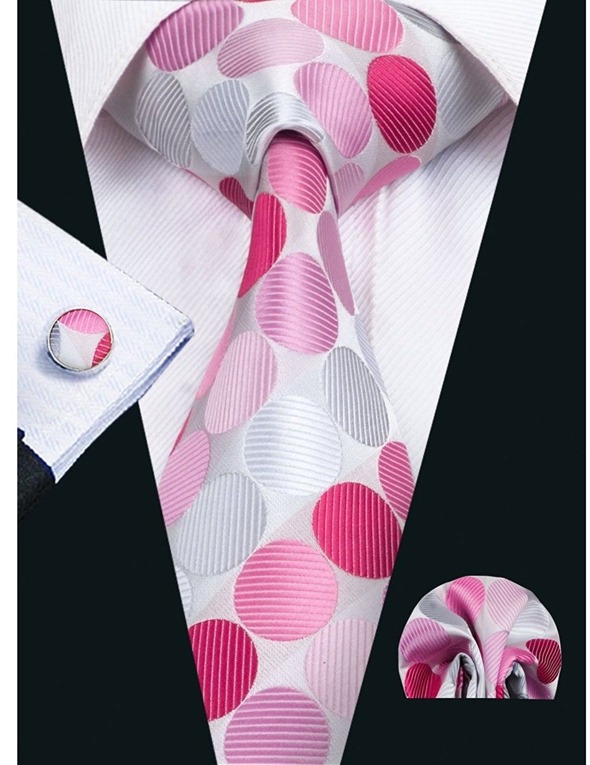 Primary image for Barry.Wang Men's Pink Ties Polka Dot Tie New Fashion Necktie Set