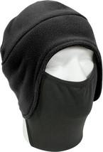 Black Polar Fleece Winter Beanie Cap Hat with Face Mask - $10.49