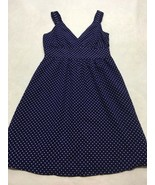 Gap Womens 10 Navy Blue White Polka Dot Dress Deep V Neck Crossover Bodice - $19.99