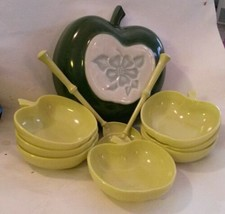 Vintage Hazel Atlas Green Apple 10 Piece Salad Bowl Set Orchard Ware - $96.02