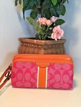 New Coach Signature Stripe Double Zip Wristlet Wallet  F1266 Pink Orange... - $77.39