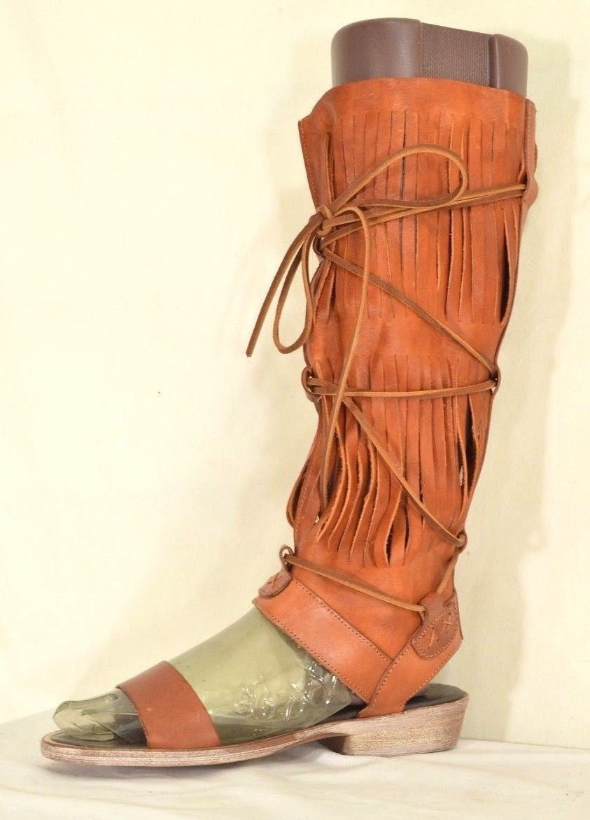 1 Free People boots sandals SZ 6 soft brown tan leather NWOB gladiator knee high