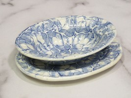 Small Unusual Blue Staffordshire Transferware Bowl and Underplate Nuts? Childs? - $53.46