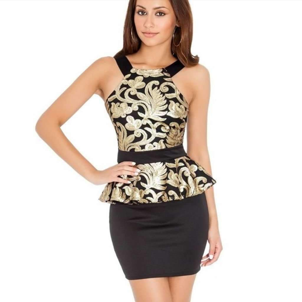 Ress for less peplum dress medium gold sequined halter neck peplum dress for women 1408074547231