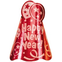 """12 Red Printed Foil 9"""" Cone Hats Metallic New Year's Eve Party - $16.14"""