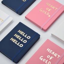 A6 Pink♡ White♡ Navy & Gold Foil Planner Notebook, Elastic band, Grid/Li... - $24.00