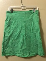 St Johns Bay Embroidered Green Flower Cotton A-line Stretch Skirt Sz 10 - $10.69