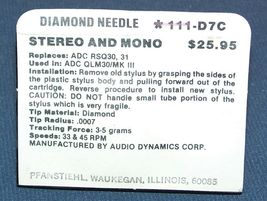 RECORD PLAYER STYLUS NEEDLE GENUINE ADC QLM30/III Mk III RSQ31 111-D7C image 3