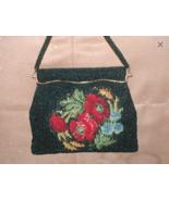 Vintage Black Beaded Needlepoint Floral Tapestry Purse - $77.22