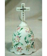 "Fenton Floral Easter Cross Bell 5 1/2"" Milk Glass 1998 Signed With Tag - $28.03"