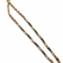 18K WHITE ROSE BLACK GOLD LARIAT NECKLACE DIAMOND CUT SPHERES SPIRAL BRAIDED image 4
