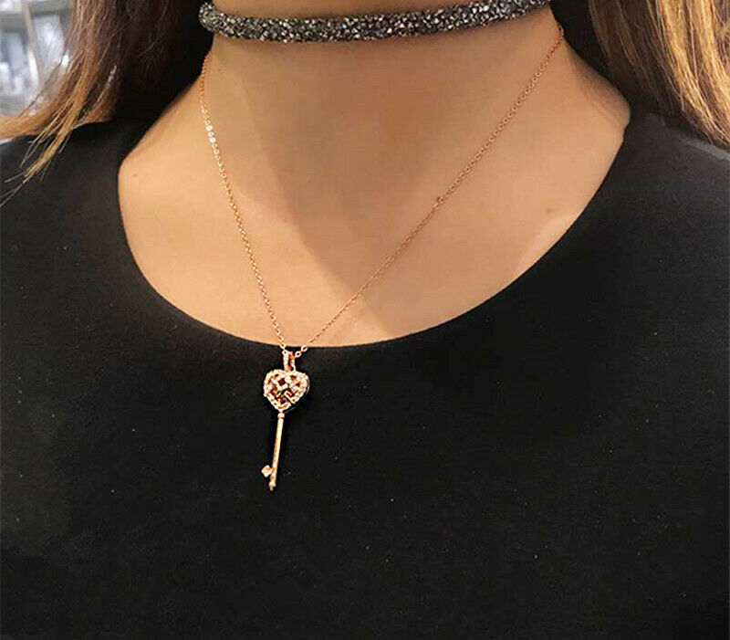 Swarovski skeleton key necklace Open heart clavicle chain Necklace jewelry gift image 6