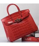 Crocodile Pattern Birkin Style Italian Leather Croc Bag Satchel Handbag ... - $151.42+