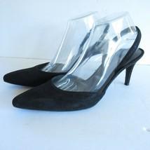 Stuart Weitzman 9.5 Pumps Black Suede Leather Slingback Pointed Toe - $27.69