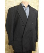 TOWNCRAFT MEN'S SPORTS COAT BLACK PINSTRIPE 49R DOUBLE BREASTED WOOL POL... - $19.59