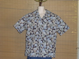 Royal Hawaiian Creations Shirt Dark Blue Light Blue Green Tan Floral Siz... - $22.76