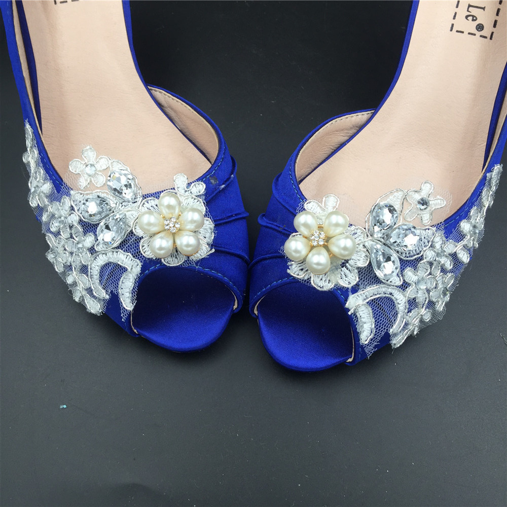 Women Blue Lace Pearls Satin Low Heels Wedding Shoes,RoyalBlue Lace Bridal Shoes image 5