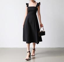 Women Sleeveless Square Neck Midi Dress Midi Chiffon Cocktail Dress,white black  image 2