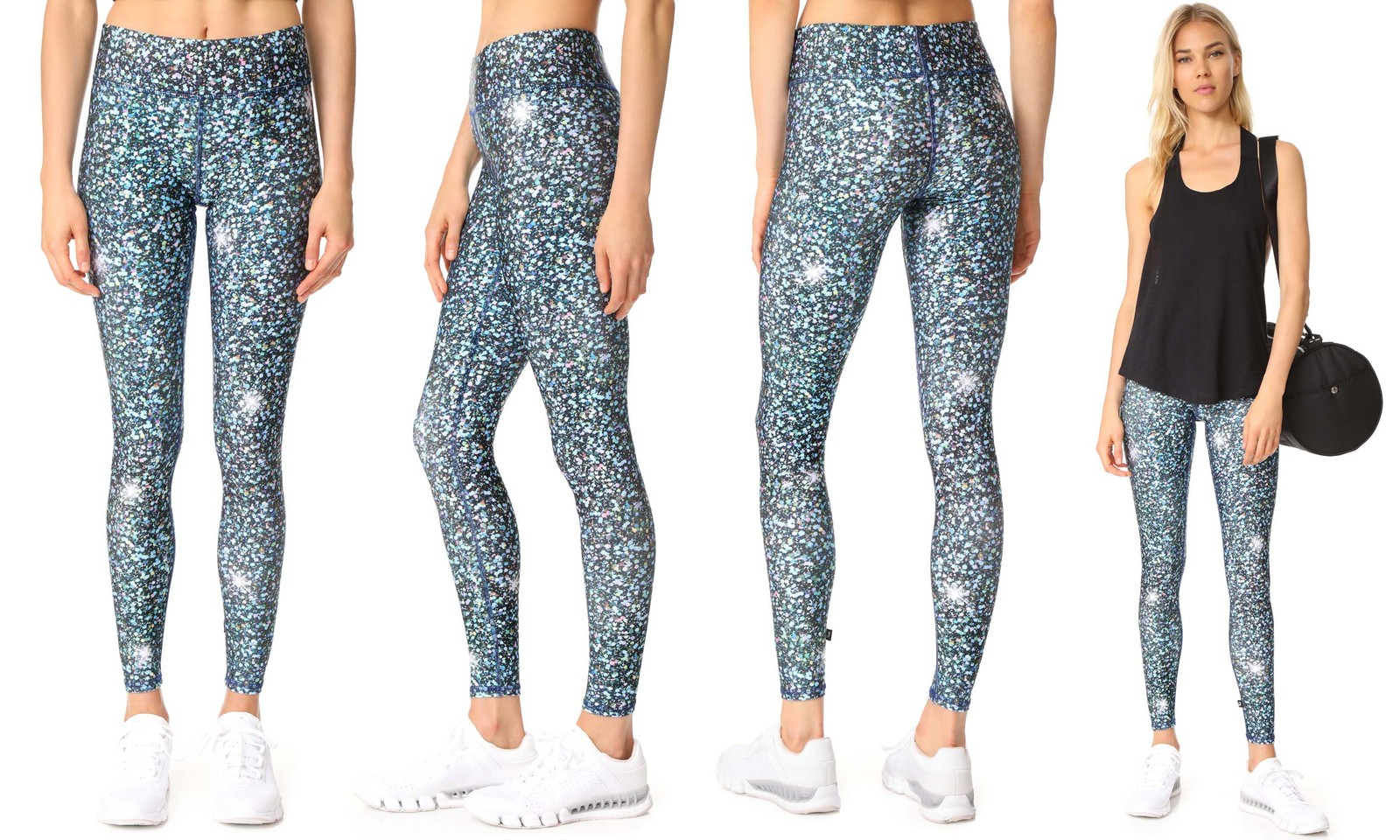 Terez Girls Big Printed Legging 7//8 Glitter Night Skies