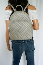 NWT MICHAEL KORS ABBEY MEDIUM QUILTED LEATHER BACKPACK PEARL GREY - $137.60