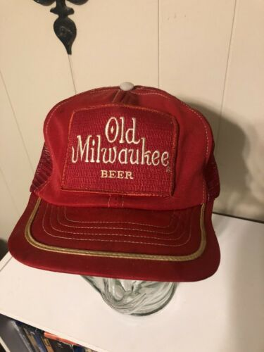 Old Milwaukee Beer Patch Hat Trucker Red Mesh Made In USA Cap