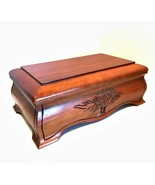 Wooden Jewelry Box w/ Mirror Removable Tray Felt Lined Footed 12.5 inche... - $78.20