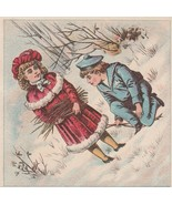 Victorian Trade Card Girl and Sailor Suit Boy in Snow - $5.93