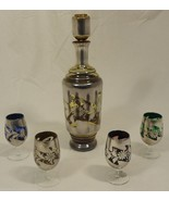 Wine Decanter Hand Cut and Hand Painted with 4 Glasses Made in Italy - $75.30