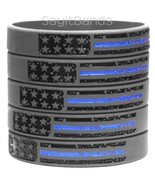 Five (5) Vintage Flag Thin BLUE Line Wristbands Police Band Awareness Br... - £6.47 GBP