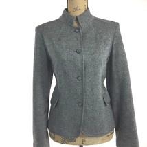 Calvin Klein 10 Large Blazer Gray Black Tweed Jacket Mock Pocket 100% Wo... - $19.95