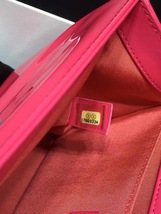 NEW AUTH CHANEL PINK QUILTED PATENT LEATHER MEDIUM BOY FLAP BAG  image 7