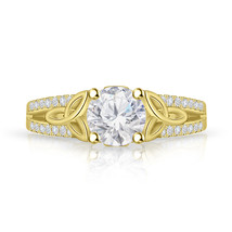 7mm Diamond Celtic Trinity Knot Engagement Ring, 14k Yellow Gold FN Ring... - $55.99