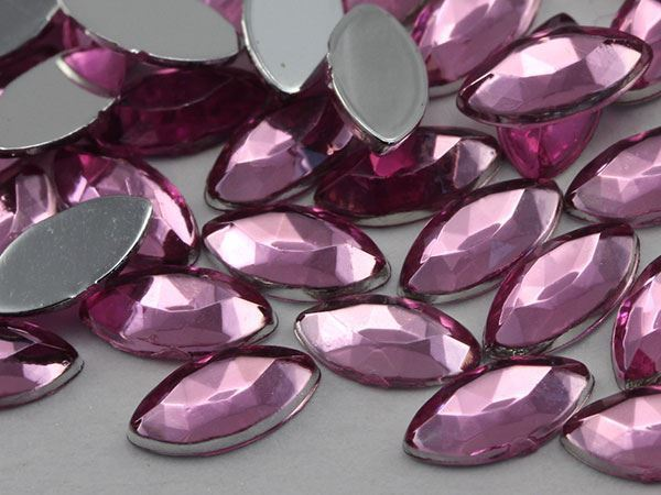 8x4mm Lite Pink H117 Flat Back Navette Acrylic Gems High Quality - 75 PCS