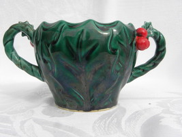 Vintage Lefton Christmas Green Holly and Berry Sugar Bowl #1355, No Lid - $6.99