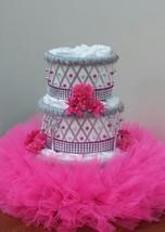 Fuchsia and Silver Princess Themed Baby Girl Shower 3 Tier Tutu Diaper Cake - $75.00