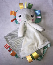 Bright Starts Elephant Security Blanket Lovey Gray With Multicolor Ribbons - $12.16