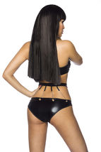 Wetlook Set GOGO TOP COLLAR Panties Chains Ladies Lingerie Black Lingerie 34-40 image 3