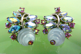 Vintage Trifari signed silver tone metal blue crystal Floral clips earrings - $158.36