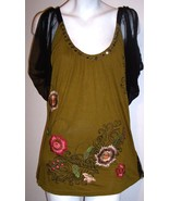 Krista Lee Top XL Green Embroidered Black Mesh Cold Shoulder Boho Hippy ... - $46.25