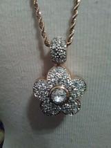 Vintage Necklace Italian Golden Chain Reversible Pave Floral To Black Pendant - $65.00