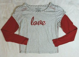 Faded Glory Girls Top Sz XL 14 16 Gray Stripe Red Sleeve Love Casual T-S... - $12.86