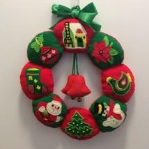 Vintage Handmade Christmas Felt Wreath Needlepoint Holiday Treasures Bells - $28.30