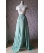 Sage Green Tulle Skirt with Split Sage Green Bridesmaid High Split Tulle... - $59.99