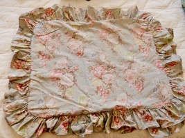 Ralph Lauren Pillow Shams Covers CHARLOTTE Sage Standard Floral Ruffled ... - $69.89
