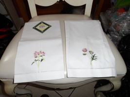 set of 2 white embroidered quest towels from Waterloo Gardens - $12.99