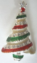 Unsigned Eisenberg Ice Green Red Enamel & Rhinestone Christmas Tree Broo... - $19.99