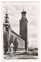 Stadhuset Stockholm Sweden 1955? RPPC real photo postcard - $6.44