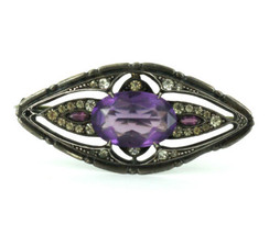 "Antique Sterling Gothic Amethyst Crystal Paste Stunning Victorian Pin 1.75"" - £89.34 GBP"