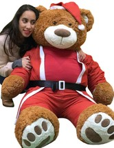 Giant Christmas Teddy Bear 60 Inch Soft Wears Santa Claus Suit 5 Foot Br... - $127.11