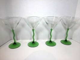 "(4) Green Zig Zag Martini Glass Set Courbe by LIBBEY GLASS Co. 7.5"" Tall - $23.74"